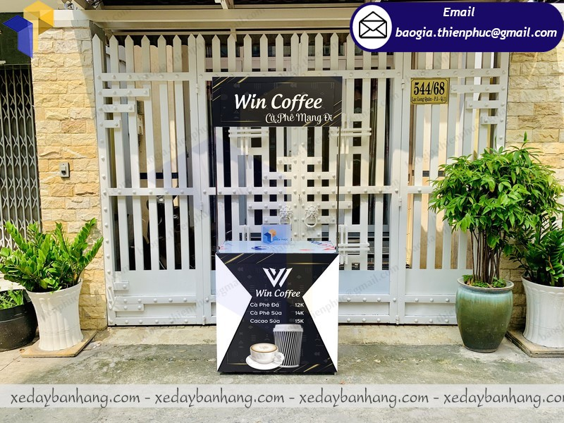 mẫu quầy sampling sắt bán cafe độc