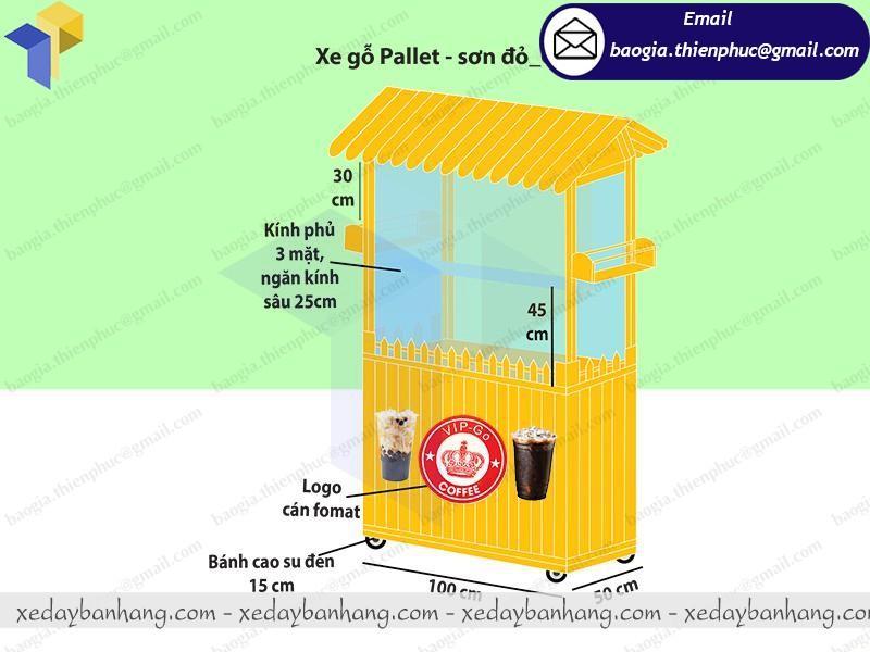quầy gỗ bán cà phê trà sữa