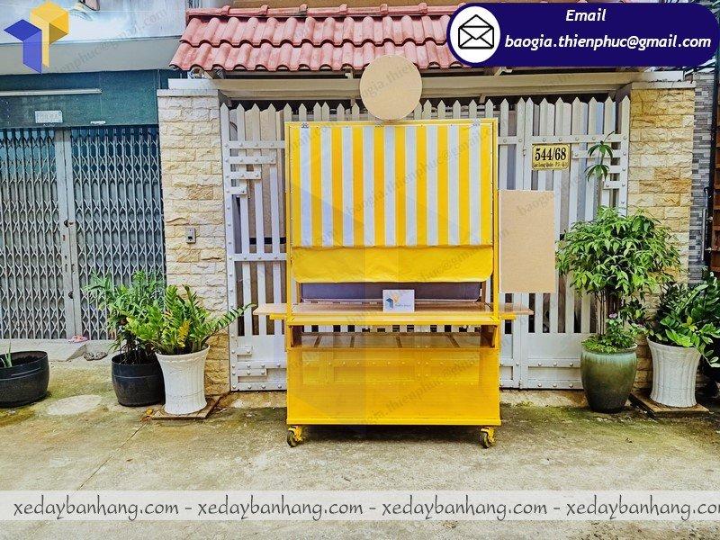 xe khung sắt ốp gỗ bán cafe giá rẻ